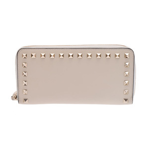 Valentino Garabani Round zipper long wallet Rock studs Ivory type ladies' men's leather AB rank VALENTINO GARAVANI second hand silver storage