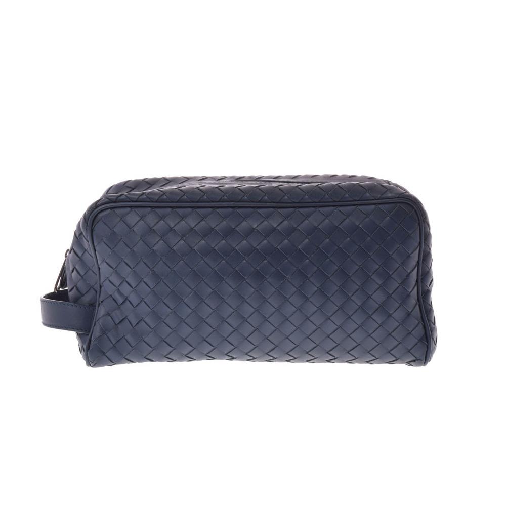 Bottega Veneta Second Bag Leather Blue Intorechat Men s Pouch A rank  beautiful goods BOTTEGA VENETA second hand silver storage b3ea6cb62dd61