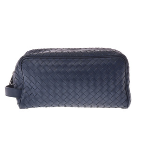 Bottega Veneta Second Bag Leather Blue Intorechat Men's Pouch A rank beautiful goods BOTTEGA VENETA second hand silver storage
