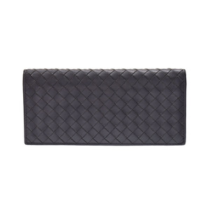 Bottega Veneta length wallet intrecciato gray men's calf B rank BOTTEGA VENETA second hand silver storage