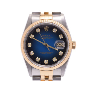 Rolex Datejust Blue Gradient Dial 16233 G T # Men's SS / YG 10P Diamond Automatic Watch ROLEX Used Ginza