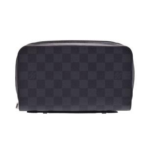 Louis Vuitton Grafitti zippy XL black N41503 Men's real leather wallet AB rank LOUIS VUITTON second hand silver storage