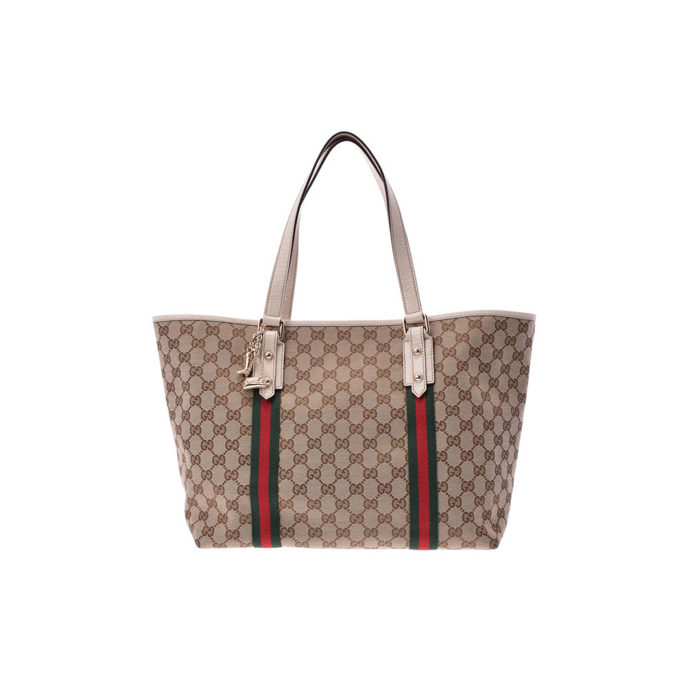 51200c51292 Gucci tote bag beige / white ladies canvas AB rank with GUCCI charm Used  silver storage