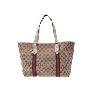 Gucci tote bag beige / white ladies canvas AB rank with GUCCI charm Used silver storage