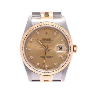 Rolex Datejust Champagne Dial 16233 G S Men's YG SS Diamond Automatic Watch ROLEX Box Gala Used Ginza