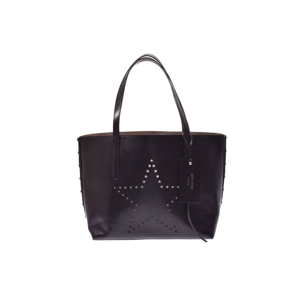 d3ae76cce8 Jimmy Choo TWIST Star Punching Black Men s Women s Leather Tote Bag A Rank JIMMY  CHOO Used ...