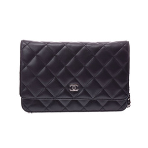 Chanel Matrasse chain wallet black SV metal fittings ladies lambskin A rank beautiful goods CHANEL secondhand silver storage