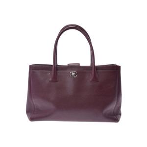 Chanel Executive Tote Bag Bordeaux SV Bracket Ladies' Calf B Rank CHANEL Used Porch Strap Ginza