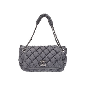 Chanel Bubble Quilt Chain Shoulder Bag Gray Black Stripe SV Hardware Ladies Canvas A Rank Beauty Item CHANEL Used Ginza