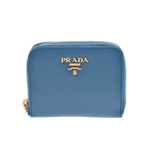 Prada Coin Case Blue Ladies Safiano AB Rank PRADA Box Used Ginza