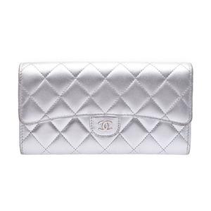 Chanel Matrasse Nets Fold Purse Silver SV Hardware Women's Lambskin AB Rank CHANEL Galler Used Ginza