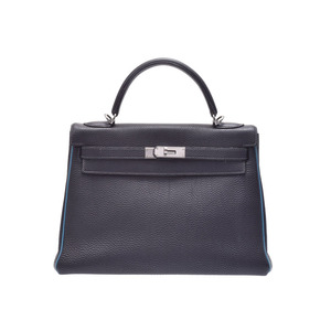 Hermes Kelly 32 Blue Indigo Gene SV metal fittings □ I engraved ladies Togo handbag B rank HERMES second hand silver stock