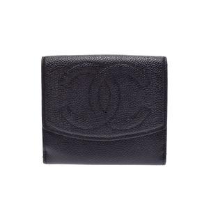 Chanel W Hook Wallet Black Ladies Caviar Skin Compact B Rank CHANEL Used Ginza