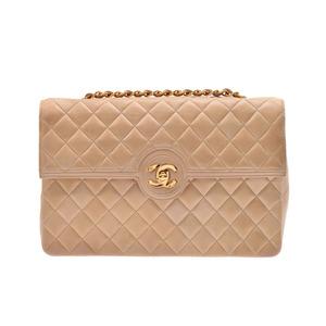 Chanel Matrasse chain shoulder bag beige G fittings ladies lambskin B rank CHANEL galler secondhand silver stock