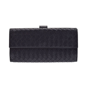 Bottega Veneta W Hook length wallet Intorechat black men's lambskin B rank BOTTEGA VENETA second hand silver storage