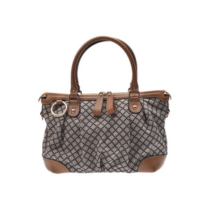 Gucci Sukey 2 Way Handbag Diamante Brown Ladies Canvas / Calf B Rank GUCCI with Strap Used Ginsho