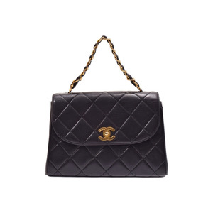 Chanel Matrasse chain handbag black G fittings ladies lambskin B rank CHANEL galler second hand silver storage