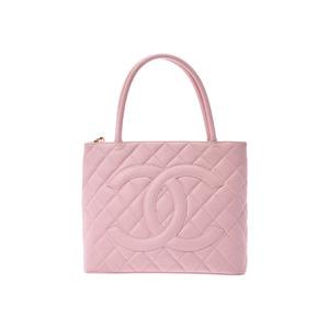 Chanel Reprint Tote Pink G Hardware Women's Caviar Skin Handbag B Rank CHANEL Galler Used Ginza