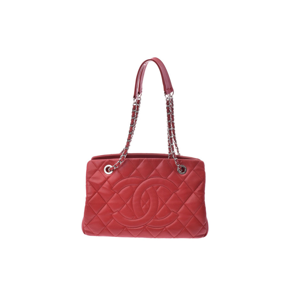 Chanel Matrasse Chain Tote Bag Red SV Hardware Women s Soft Caviar Skin AB  Rank CHANEL Used Ginza d05a80082