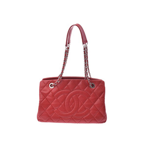 Chanel Matrasse Chain Tote Bag Red SV Hardware Women's Soft Caviar Skin AB Rank CHANEL Used Ginza