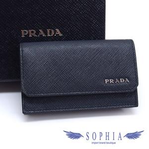 Prada card case business holder safiano corner dark navy 20181116