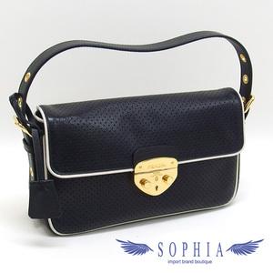 Prada punching leather shoulder bag BR4424 black 20181123