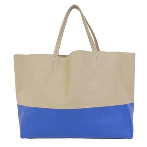Genuine CELINE Celine line horizontal collar tote bag blue beige leather
