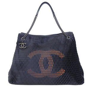 Genuine CHANEL Chanel mesh chain tote bag black 20 series leather