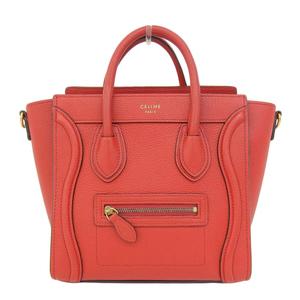 Genuine CELINE Celine laggage Nano shopper 2 WAY bag hand shoulder red leather