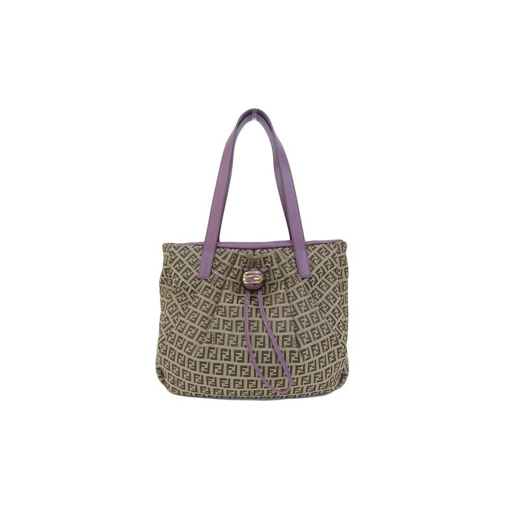 Genuine FENDI Fendi Zucchini tote bag purple beige pattern number: 8BR 640 leather