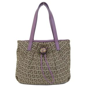 Genuine FENDI Fendi Zucchini tote bag purple beige pattern number: 8BR 640 leather