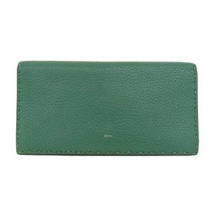 Real FENDI Fendi Leather Folded Zipper Long Purse Black Green Wallet