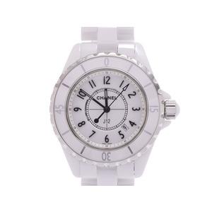 シャネル J12 33mm 白文字盤 メンズ レディース 白セラミック クオーツ 腕時計 Aランク 美品 CHANEL 箱 ギャラ 中古 銀蔵