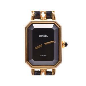 Chanel Premier black letter board M size ladies' GP leather quartz wristwatch AB rank CHANEL secondhand silver krea