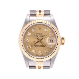 ロレックス デイトジャスト シャンパン文字盤 69173G S番 メンズ 自動巻 腕時計 YG SS 10Pダイヤ ROLEX 中古 銀蔵