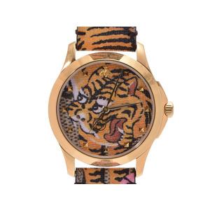Gucci G Timeless Tiger Dial 126.4 Ladies Gold PVD / Canvas Quartz Wrist Watch New Item Beauty GUCCI Box Gala Ginza