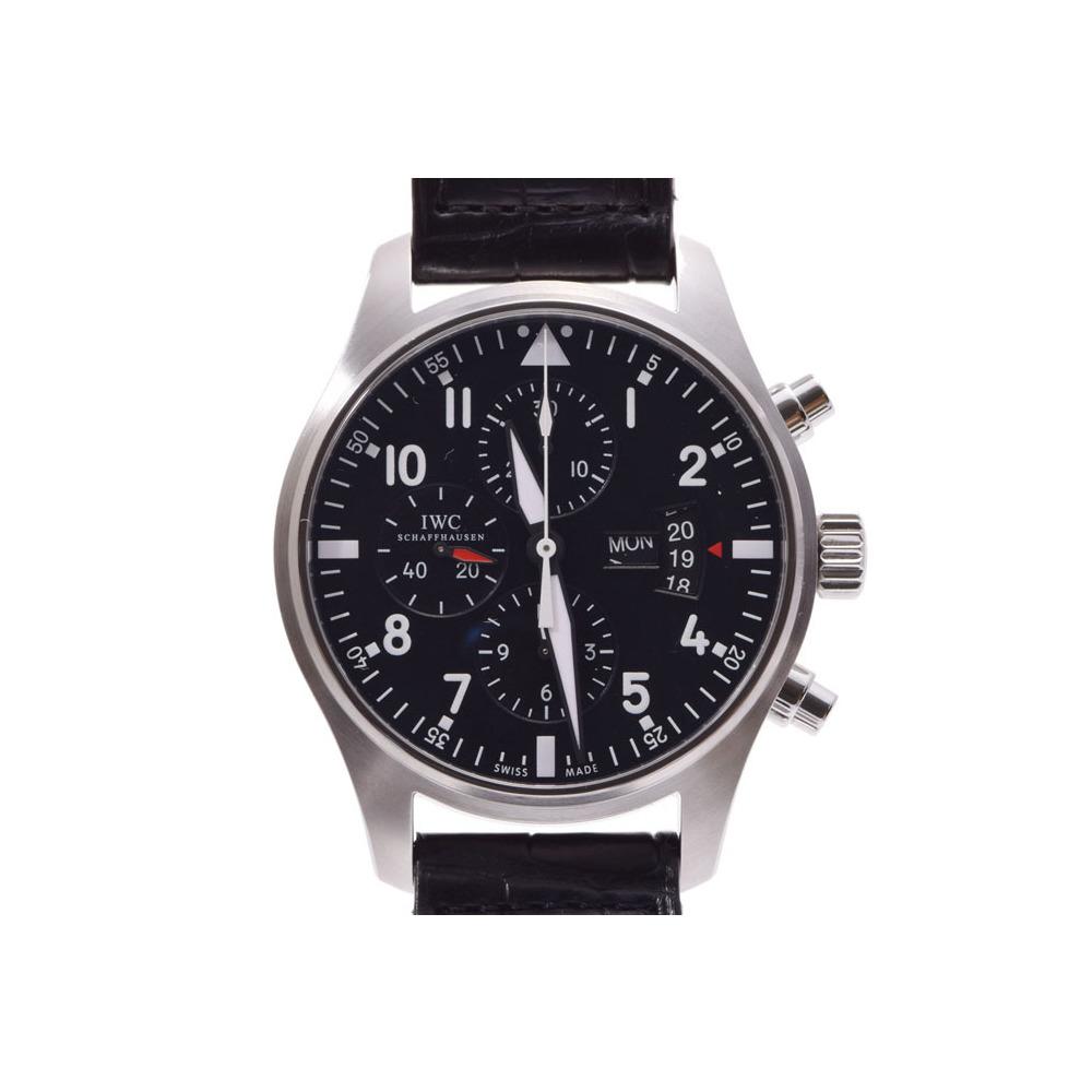 IWC パイロットウォッチ クロノ 黒文字盤 IW377701 メンズ SS/革 自動巻 腕時計 Aランク 美品 中古 銀蔵