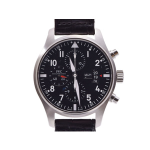 IWC pilot watch Chrono black letter board IW 377701 Men's SS / leather automatic winding wristwatch A rank beautiful goods secondhand silver reserve