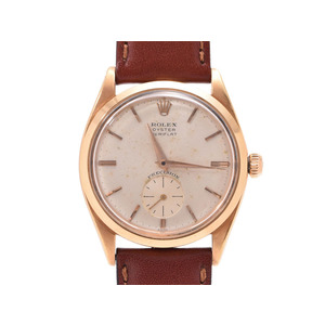 Rolex Oyster Silver Dial VERIFRAT 6512 Antique Men's Women's YG / Leather Hand-rolled Wrist Watch AB Rank ROLEX Used Ginza