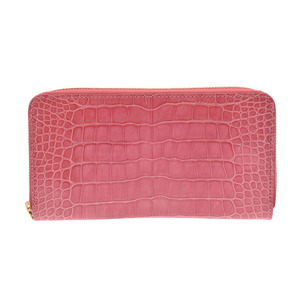 Louis Vuitton Zippy Wallet Pink Ladies Crocodile Long Shinzo Beauty Item LOUIS VUITTON Used Ginza