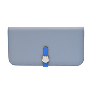 Hermes Dragon Long Blue Rin SV metal fittings □ Q engraved ladies men's Ever color long wallet unused beauty goods HERMES box secondhand silver stock