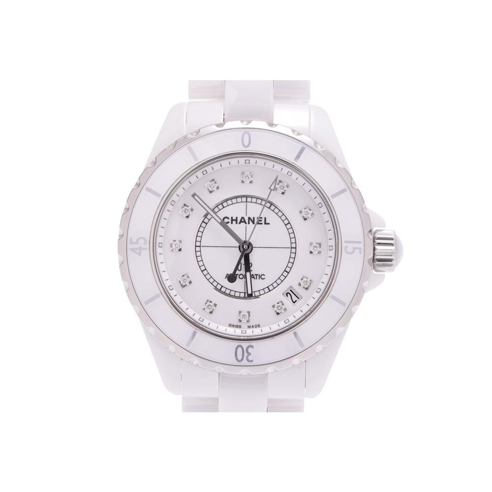 19990519ddae シャネル J12 38mm 白文字盤 H1629 メンズ 白セラミック 12Pダイヤ 自動巻 腕時計 A