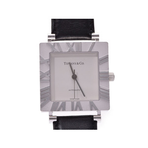 TIFFANY Atlas Square Silver 925 Leather Automatic Mens Watch