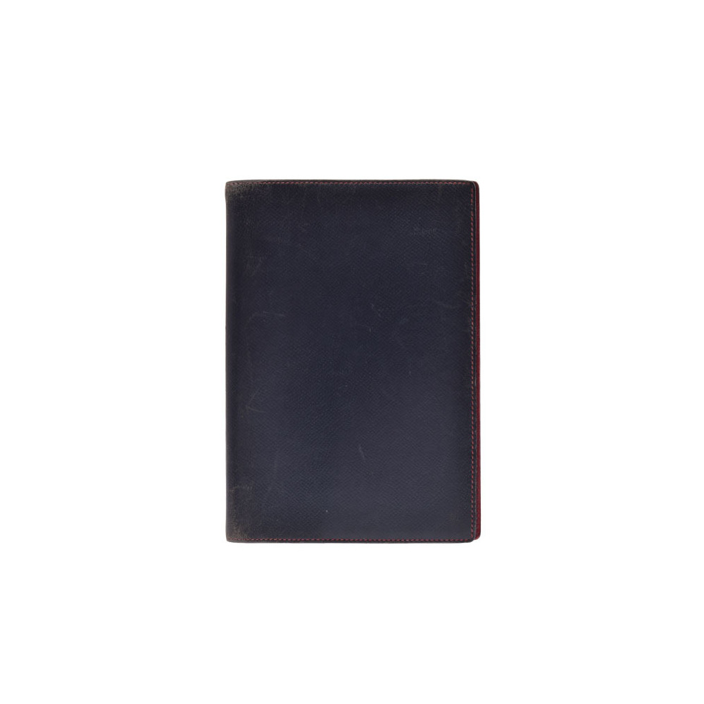 Hermes Agenda GM Navy / Red ○ R Engraved Mens Ladies Kushubel notebook cover C Rank HERMES Used Ginza