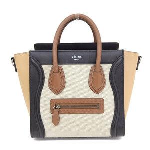 b823d92fa Genuine CELINE Celine luggage Nano shopper 2 WAY handbag beige bag leather