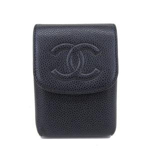 Genuine CHANEL Chanel caviar cigarette case black 10 series