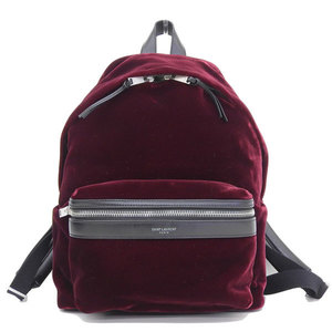 Real SAINT LAURENT Saint Laurent Paris City Velvet Bag Pack Burgundy Color P00271585 Leather